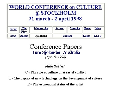 THE WORLD CONFERENCE PAPERS BY TURE SJOLANDER